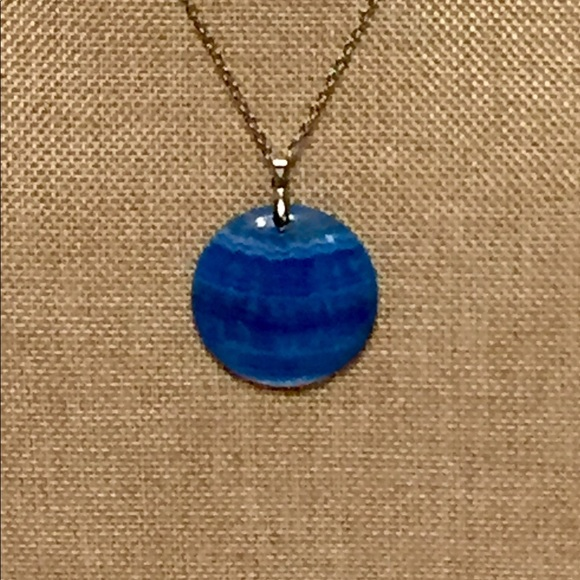 Jk designs jewelry vivid azure blue lace agate pendant necklace vivid azure blue lace agate pendant necklace aloadofball Choice Image